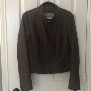 ANTHROPOLOGIE VEGAN LEATHER LINED MOTO JACKET